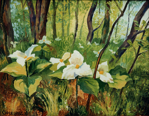 FLOWERS IN THE FOREST. 1998, oil on cardboard, 40x50 cm