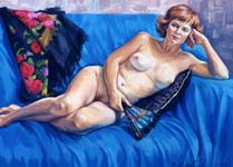 LADY WITH A FAN. 2002, oil on canvas, 60x80 cm