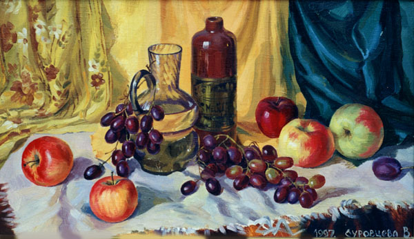 GRAPES AND APPLES. 1997, oil on canvas, 37x64 cm
