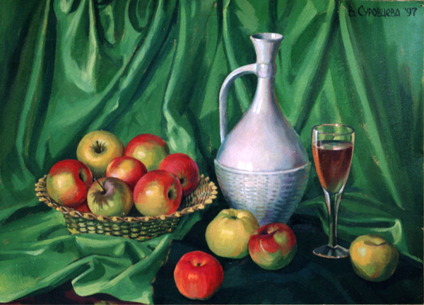 GREEN STILL LIFE. 1997, oil on cardboard, 55x68 cm