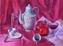 PURPLE BREAKFAST, 1997, oil on canvas, 50x59 cm