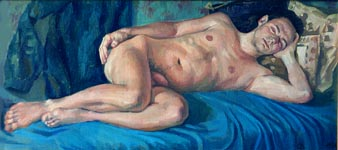 SLEEPING ON A BLUE. 1996, oil on canvas, 37x79 cm
