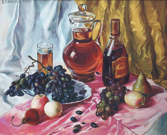 WINE AND APPLES, 2000, oil on fibreboard, 58x66 cm